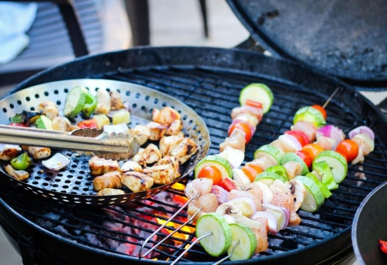 Kabobs on a small grill
