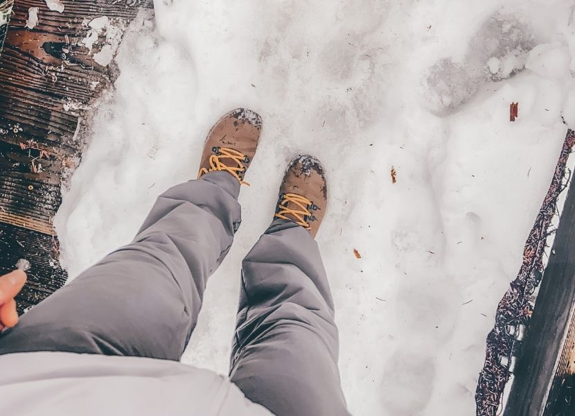 Cait's hiking boots and winter hiking pants while hiking on Teneriffe Falls Trail
