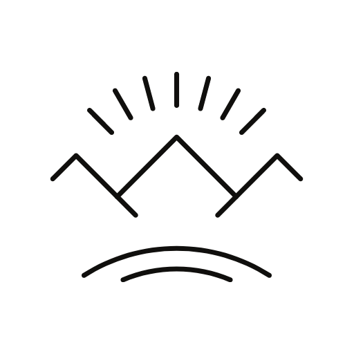 A line drawing of mountains with the sun peeking through them