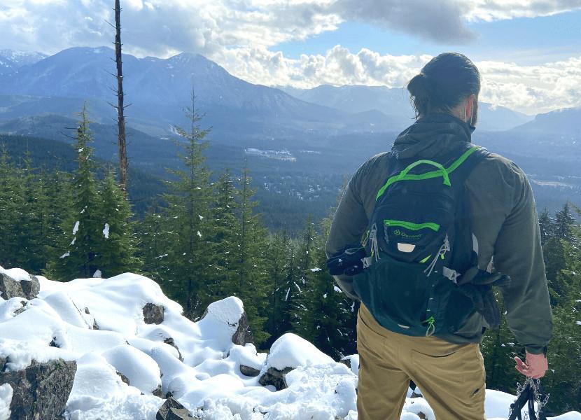 Dalton wearing his Eddie Bauer Guide pants at a viewpoint along the Teneriffe Falls Trail