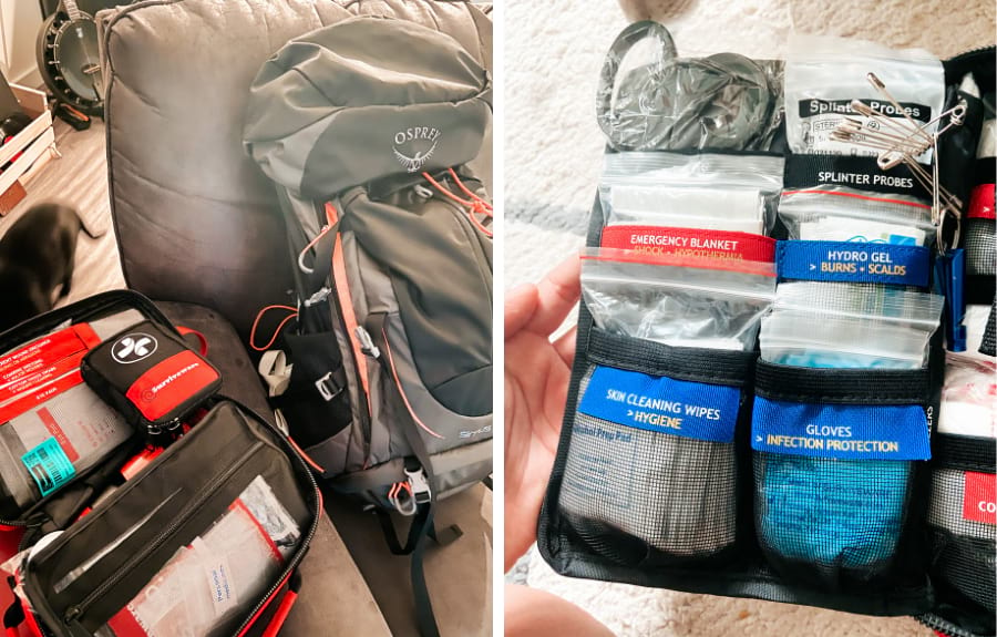 On the left: the large kit open next to a black and grey 36L Osprey pack. on the right: the inside flap of the large kit -  you can see shears, emergency blanket, cleaning wipes, gloves, hydro gel, splinter probes, and safety pins