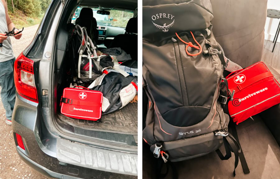 on the left is the Surviveware large first aid kit in the back of Cait's very messy Subaru Outback. On the right is the large pack next to a black and gray 36L Osprey backpack